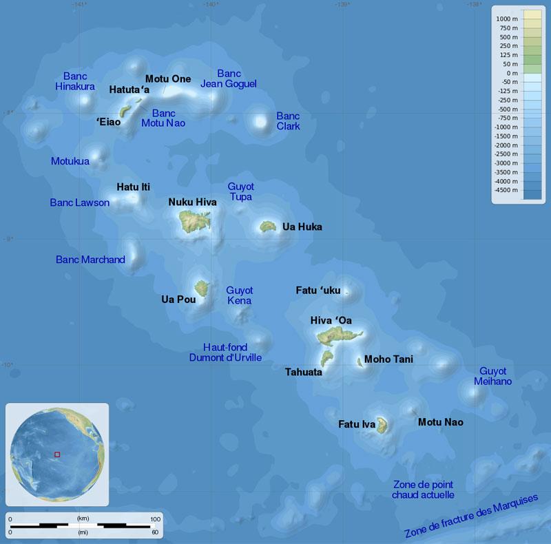 Carte des îles Marquises en Polynésie Française