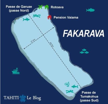Carte de l'atoll de Fakarava en Polynésie