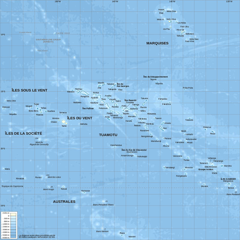 Carte de la Polynésie Française