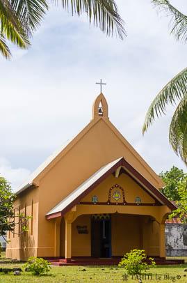 Eglise du village de Tetamanu à Fakarava en corail