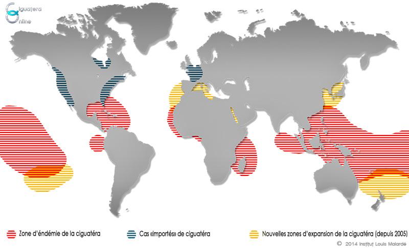 Carte de la répartition de la ciguatéra dans le monde