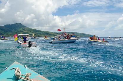 Dans le bateau pendant la Hawaiki Nui Va'a