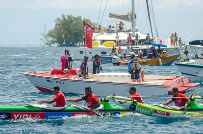 Arrivée de la première étape de la Hawaiki Nui Va'a 2017