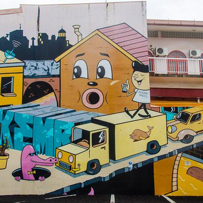 Street art et graffiti à Tahiti : Dabs Myla et Kems