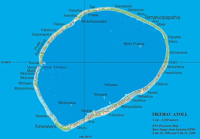 Carte de l'atoll de Tikehau aux Tuamotu en Polynésie frnaçaise