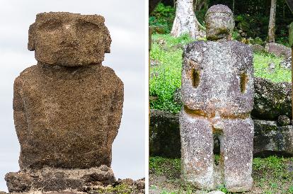île de Paâques : comparaison entre tiki et moai